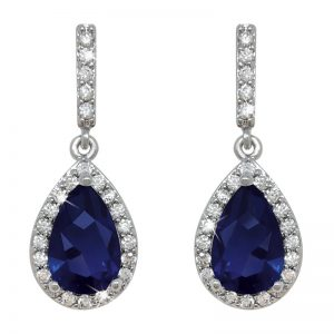 Tipperary Crystal Silver Blue Crystal Pear Drop Earrings