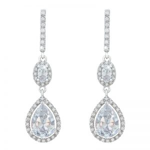 Tipperary Crystal Silver & Crystal Pear Drop Earrings