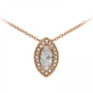 Tipperary Crystal Rose Gold Marquise Cut Pendant