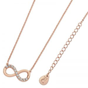 Tipperary Crystal Infinity Part Stone Rose Gold Pendant