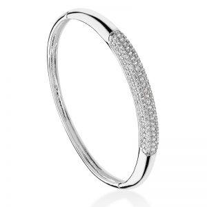Tipperary Crystal Silver Pavé Set Bangle