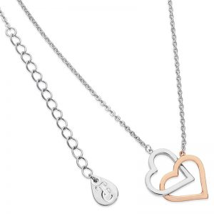 Tipperary Crystal Interlinked Silver & Rose Gold Hearts Pendant