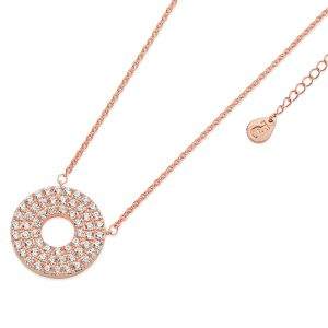 Tipperary Crystal Rose Gold Circle Moon Band Pendant