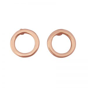 Tipperary Crystal Polished Rose Gold Circle Stud Earrings