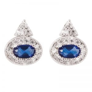 Tipperary Crystal Oval Sapphire Silver Stud Earrings