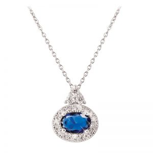 Tipperary Crystal Oval Sapphire Silver Pendant