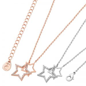 Tipperary Crystal Rose Gold Interlinked Stars Pendant