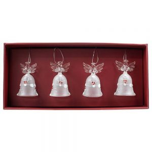 Avoca Blue Holly & Snow Hanging Angels x4
