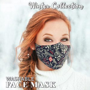Washable Blue Baubles Face Mask
