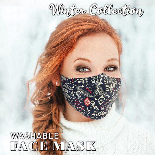 Christmas Face Mask Blue Baubles