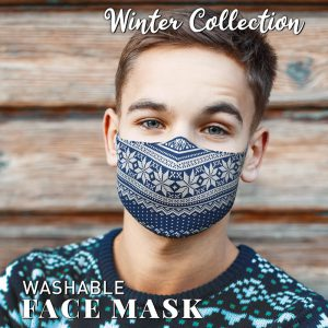 Washable Fairisle Blue Face Mask
