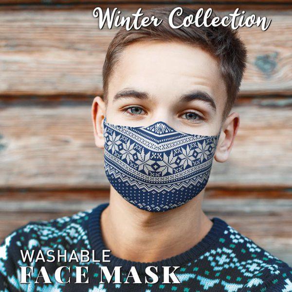 Christmas Face Mask Fairisle Blue