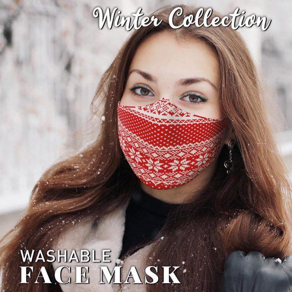 Christmas Face Mask Fairisle Red