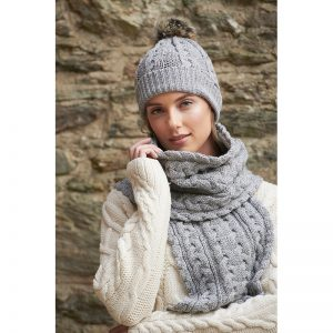 Aran Crafts Cable Knit Pom Pom Hat