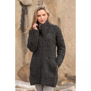 Aran Crafts Glendalough Double Collar Knitted Coat