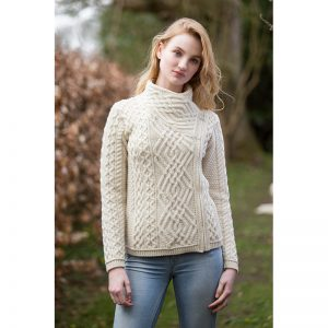 Aran Crafts Shannon Side Zip Merino Wool Cardigan