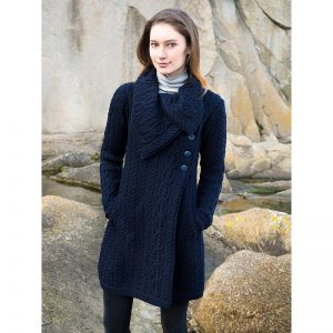 Aran Crafts The Burren Cowl Collar Knit Coat