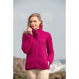 Aran Crafts Wicklow Double Collar Wool Zip Cardigan