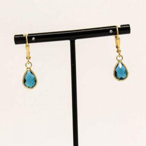 Ellie Teardrop Teal/Gold Short Earrings By K Kajoux