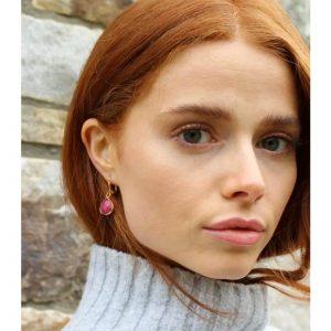 Rose Jade Teardrop Short Earrings By K Kajoux